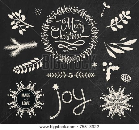 Christmas doodle chalkboard graphic set