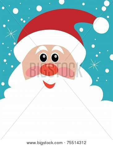 Vector Christmas Illustration Of Santa With Big Beard