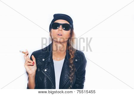 Naughty Girl In Sunglasses And Black Leather Jacket Smoking Cigar