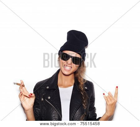 Hipster Girl In Sunglasses Giving The Rock And Roll Sign