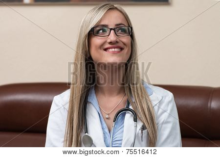 Woman Doctor Having Short Break