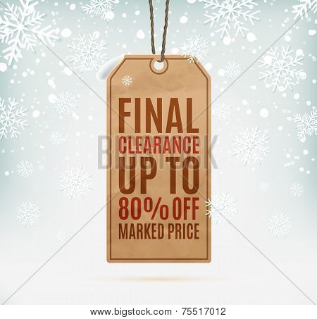 Final clearance price tag on winter background with snow and snowflakes
