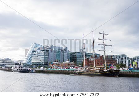 Jeanie Johnston Tralee Ship At Liffey River In Dublin