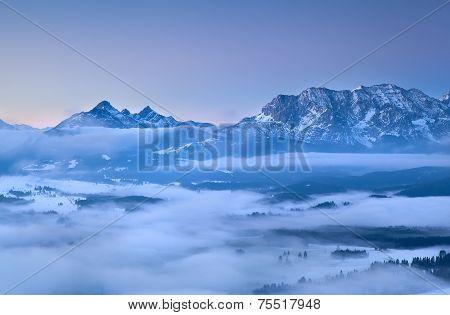 Karwendel Mountains In Morning Fog