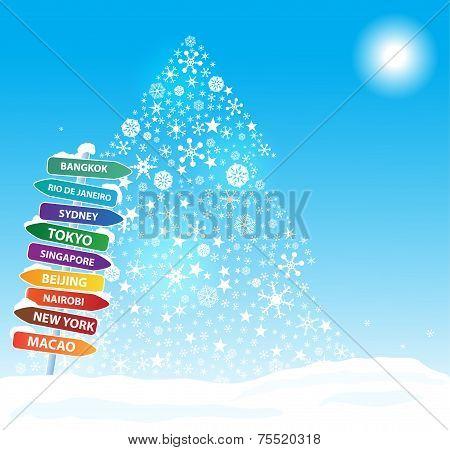 Christmas  exotic trip. Eps10