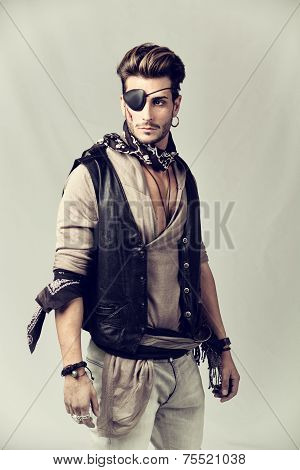 Handsome Young Man In Pirate Fashion Outfit
