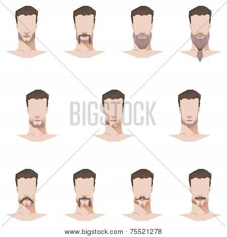 Male Face Mustache And Beard Flat Style