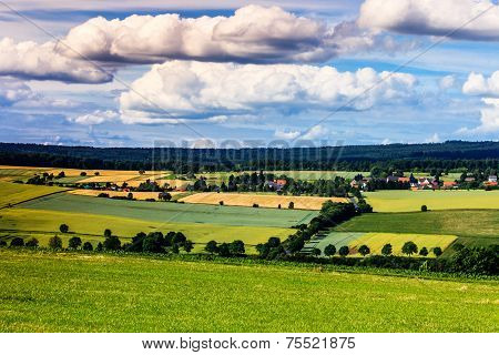 Colorful summer landscape near Kassel, Germany