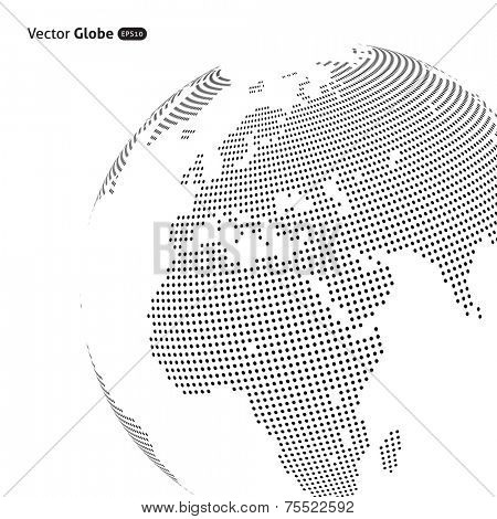 Vector abstract dotted globe, Central heating view on Europe and Africa
