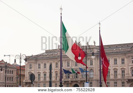 Italian And Trieste Flags