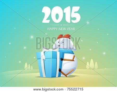 Happy New Year 2015 greeting card with kiddish cartoon of a goat holding gift box on winter background.
