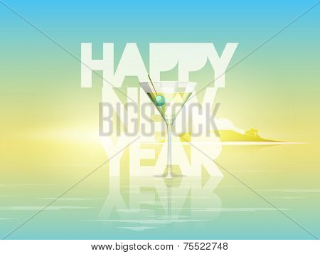 Stylish shiny text for Happy New Year with juice glass on nature background, can be use as poster, banner or flyer.