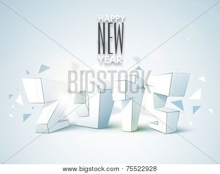 Happy New Year celebration with 3D numeral of 2015 on stylish blue background.