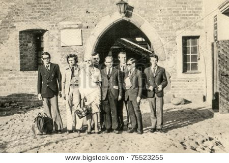 POLAND, CIRCA FORTIES: Vintage photo of group of people outdoor