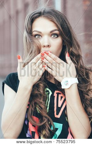 Beauty Surprised Brunette Woman