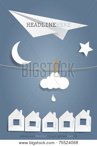 vector original symbolic abstract illustration with moon plane,star and cloud on rope