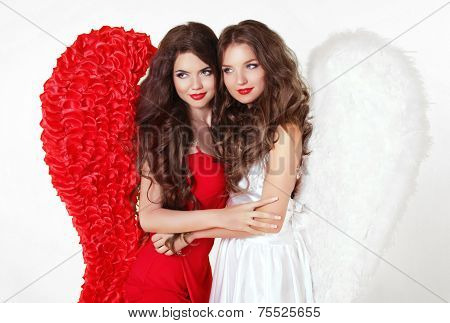 Beautiful Smiling Angel Girls With Angel's Wings. Fashion Women With Long Wavy Hair Wearing In Red A