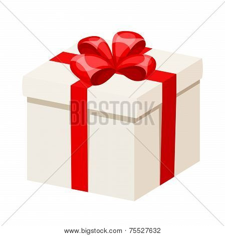White gift box with red ribbon and bow. Vector illustration.