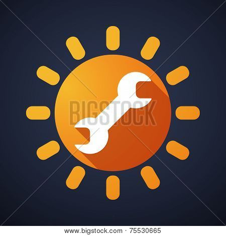 Sun Icon With A Monkey Wrench