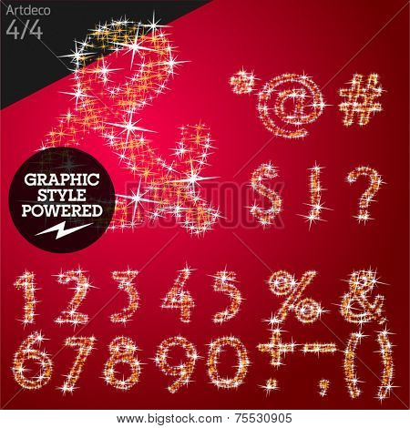 Vector christmas font characters of a shining stars. Artdeco normal. File contains graphic styles available in Illustrator