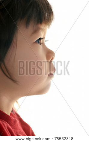 Profile of two years old chinese girl. Father european, mother chinese.