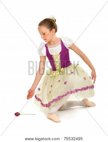 Ballerina Girl In Recital Costume