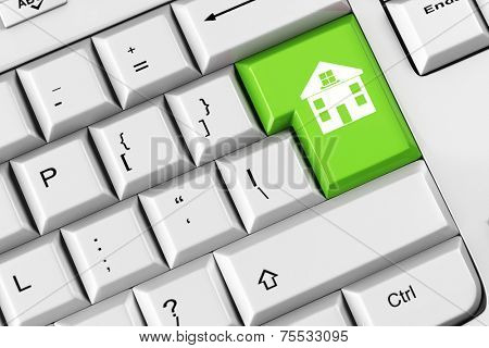 House symbol on a green keyboard key as concept for real estate mortgage (3D Rendering)