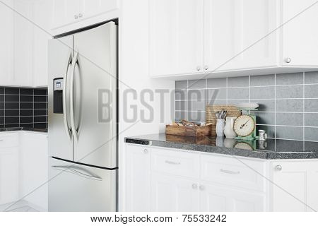 Modern fridge in a clean white kitchen with counter top (3D Rendering)