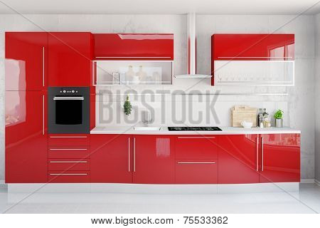 Clean modern red kitchenette in a kitchen (3D Rendering)