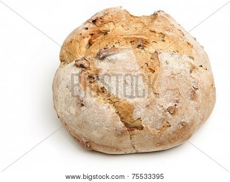Artisan bread cob loaf on white background