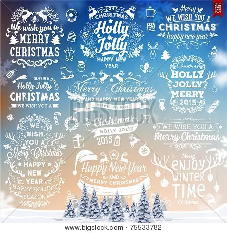 Hand Drawn Christmas And New Year Decoration Set Of Calligraphic And Typographic Designs, Labels and Elements. Symbols And Icons Collection for Holiday Greeting Cards, Banners, Posters and Placards.