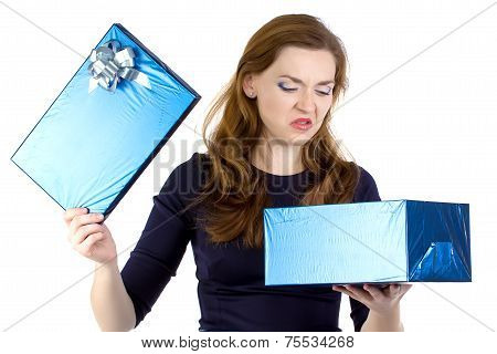 Photo of cranky woman received the gift
