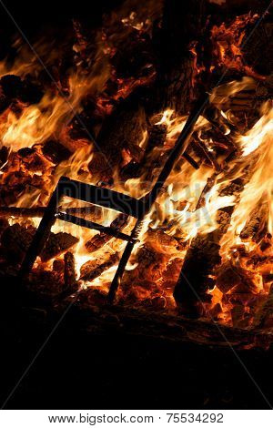 Chair Burning In Guy Fawkes Night Bonfire