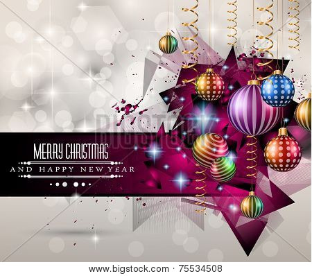 2015 New Year and Happy Christmas background for your flyers. Includes a lot of festive themed elements: balls, stars, golden words and shapes.