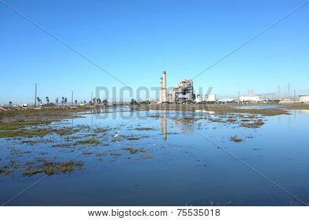 HUNTINGTON BEACH, CA - NOVEMBER 6, 2014: The AES Power Plant on Pacific Coast Highway seen from the Magnolia Wetlands. The facility produces electricity for more than 40,000 homes.
