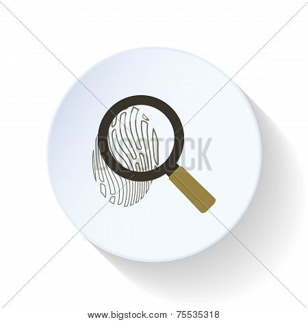 Fingerprint With A Magnifying Glass Flat Icon