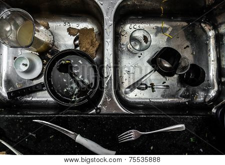 Chaotic and dirty kitchen