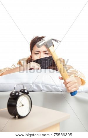 Sleepy Asian Girl Wake Up Hit Alarm Clock With Hammer