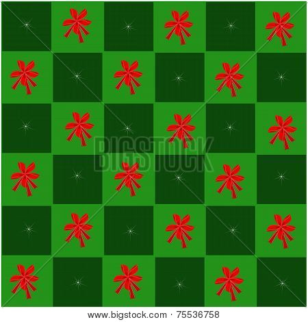 Red Bow in Green and Dark Green Chess Board