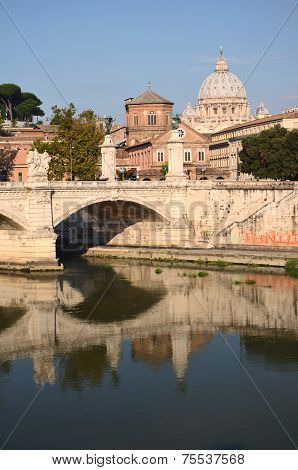 Monumental St. Peters Basilica over Tiber in Rome, Italy