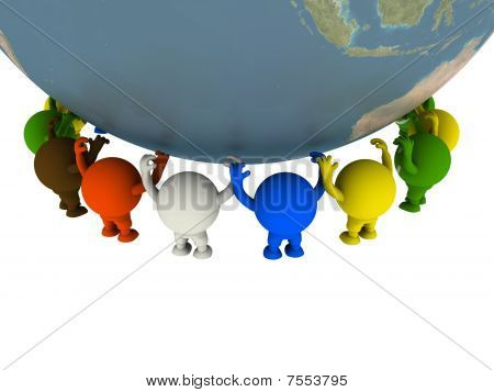 Group Of Smileys Supported The Globe.