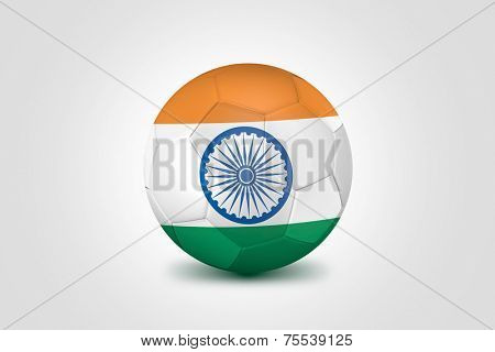 Soccer ball with India flag isolated on white