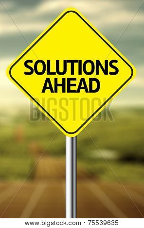 Creative sign with the message - Solutions Ahead