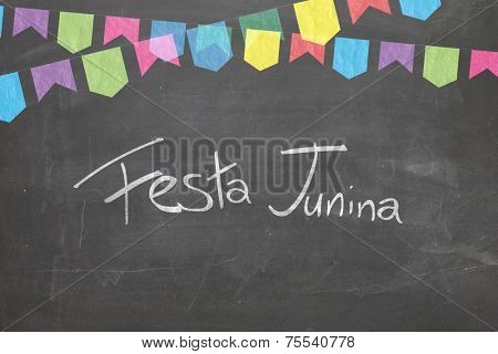 Commemorative Blackboard with the word Festa Junina in Portuguese