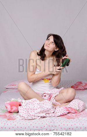 Dreaming Girl Waking Up Brushing Her Hair