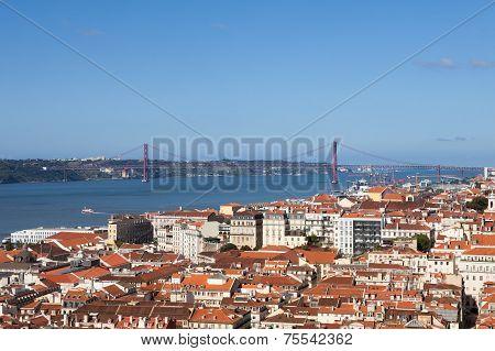 View Of Lisbon City Against Blue Sky