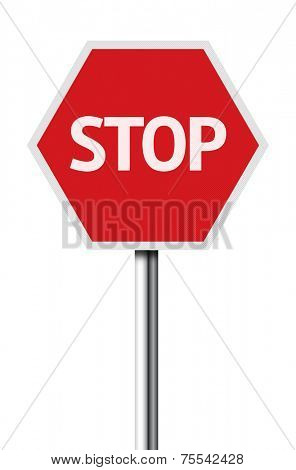 Isolated stop sign on white