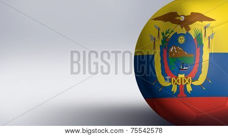 Soccer ball with Ecuador flag isolated on white