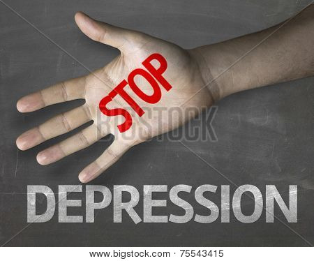 Creative composition with the message Stop Depression