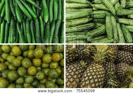 Set of some vegetables and fruits: Cucumber, Zucchini, Pineapple, Orange